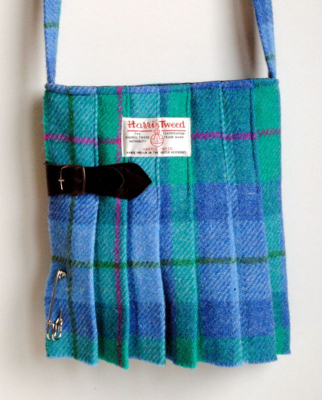 Harris Tweed Kilt Bag in a Green and Light Blue Tartan