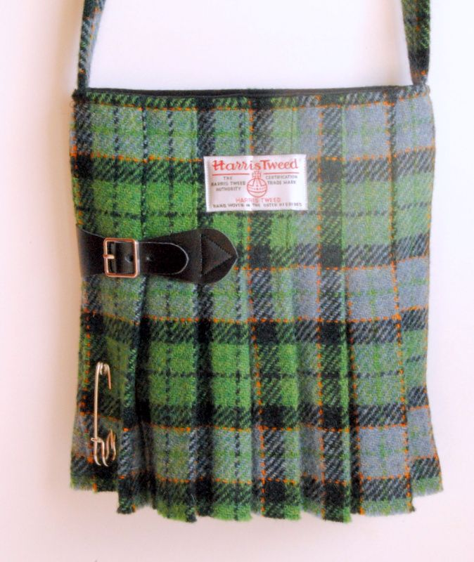 Harris Tweed Kilt Bag in a Green Tartan No10