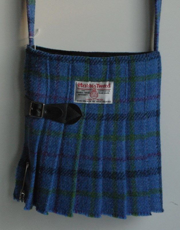 Harris Tweed Kilt Bag in shades of blue with green stripe No8