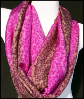Ladycrow Hand Painted Salt Water Dyed Silk Scarf with Magnetic Clasp - Raspberry Ripple