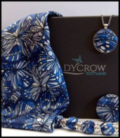 Ladycrow Liberty Silk Satin Scarf with Magnetic Clasp - Blue Jewel