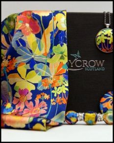 Ladycrow Liberty Silk Satin Scarf with Magnetic Clasp - Blue Spring Proposal