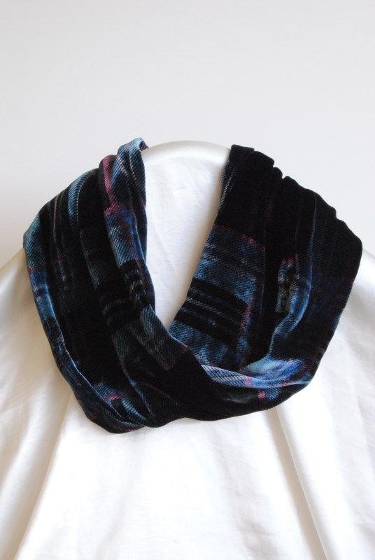 Ladycrow  Tartan Silk Velvet Infinity Scarf, Black and Blue