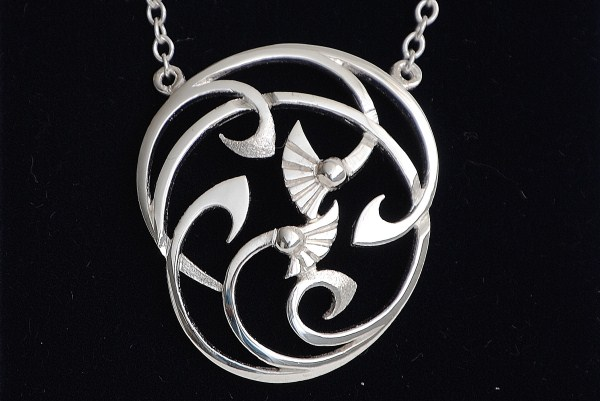 Celtic Thistle and Wave Necklace