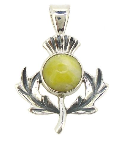Scottish Green Marble Thistle Pendant HP8